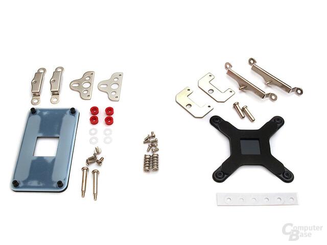 Links: AMD AM2-Kit, rechts: Intel Sockel 775 Zubehör