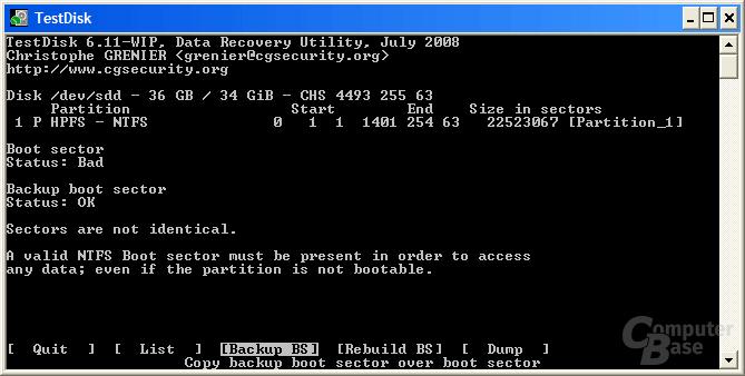 Funktion Backup Bootsektor kopieren