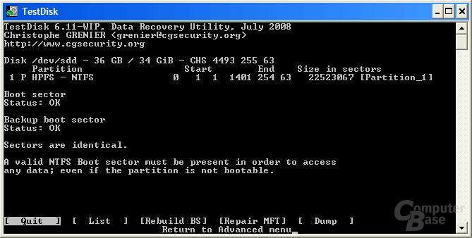 Nach kopieren vom Backup-Bootsektor
