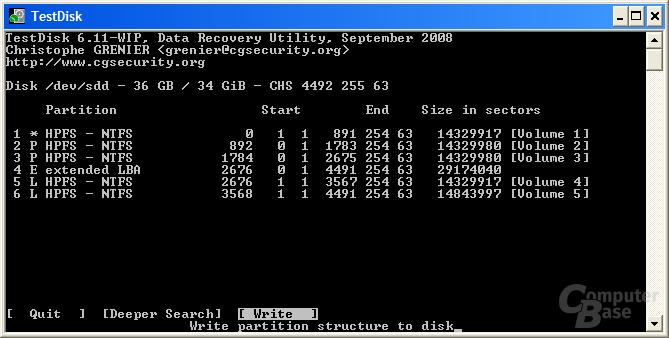 Basisdatenträger wieder in Partitionstabelle schreiben