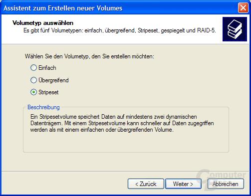 Windows-Assistent zum Erstellen für Stripesets