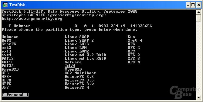 Partitionstyp NTFS hinzufügen