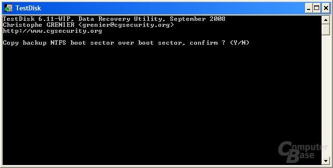 Backup-Bootsektor kopieren