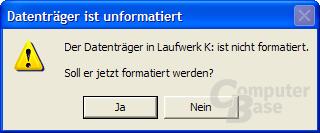 Die Karte wird im Explorer angezeigt und Windows gibt beim Zugriff die Meldung aus, dass der Datenträger formatiert werden soll