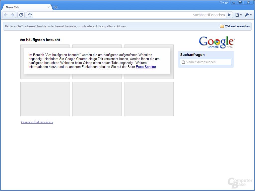 Google Chrome – Startseite