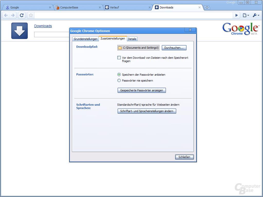 Google Chrome – Zusatzeinstellungen