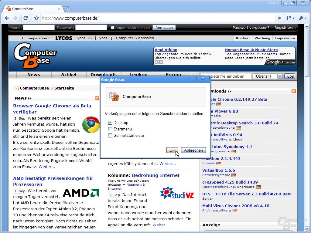 Google Chrome – Anwendungsverknüpfung erstellen