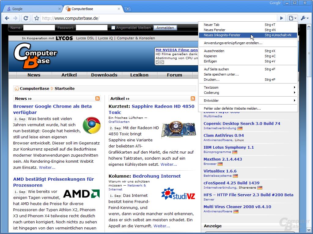 Google Chrome – Aktuelle Seite bearbeiten
