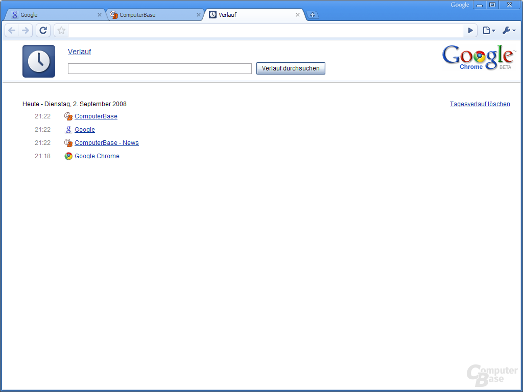 Google Chrome – Verlauf