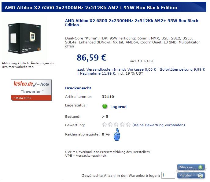 Athlon X2 6500 bei Minfactory lieferbar