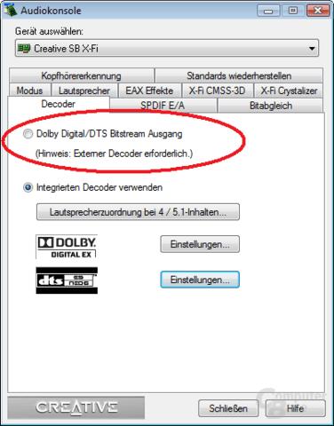 Creatives Audiokonsole muss für SPDIF-Passthrough konfiguriert werden