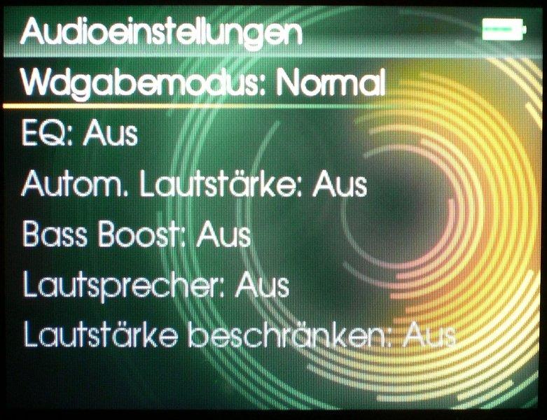Screen Audioeinstellungen
