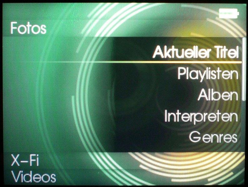Screen Musikmenue