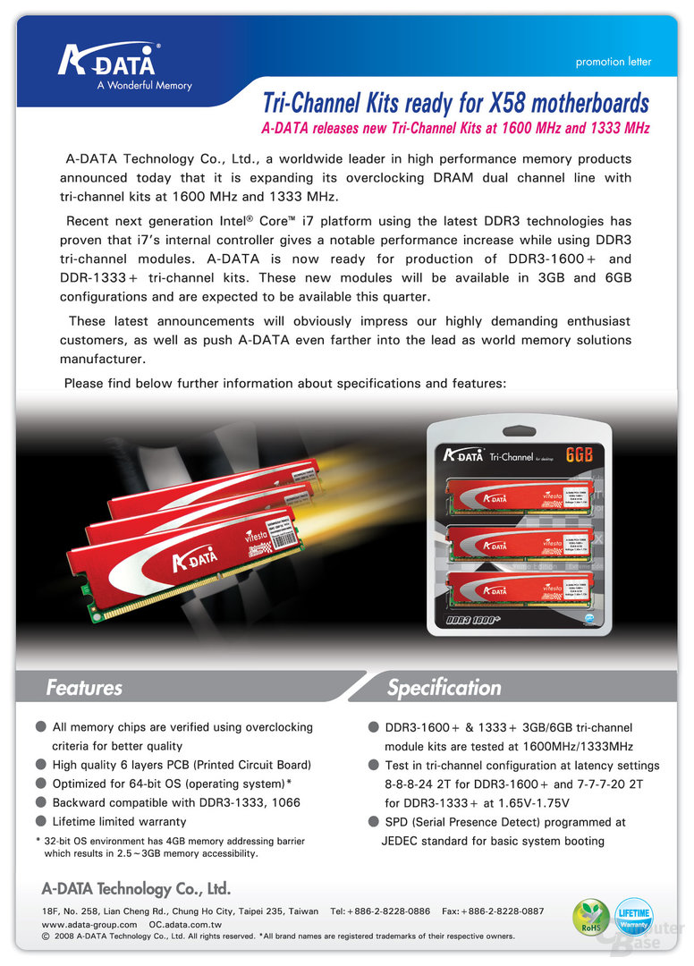 A-DATA Tri-Channel-Speicherkit mit 6 GByte