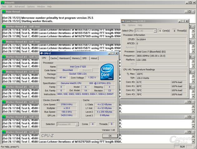 Core i7-920 bei 3,8 GHz im Stabilitätstest