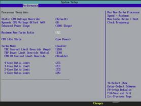 Turbo-Mode-Einstellungen beim Core i7-965 XE für die Simulation eines i7-940
