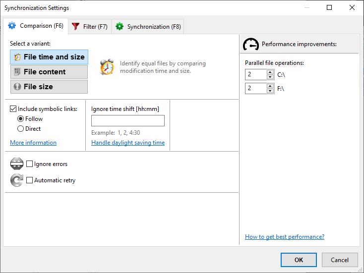 FreeFileSync – Comparison settings