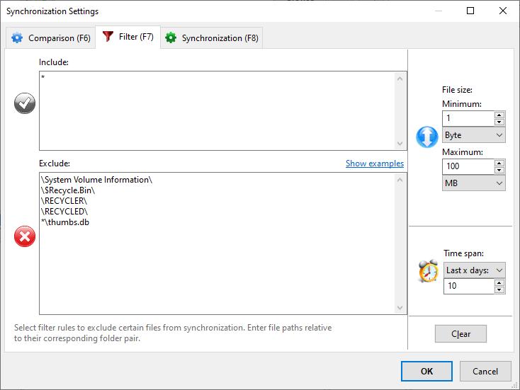 FreeFileSync – Filter