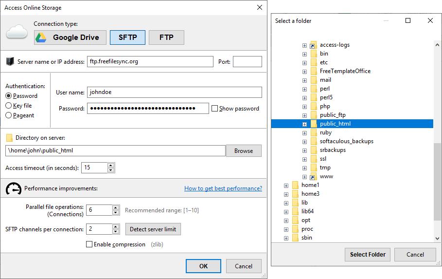 FreeFileSync – SFTP