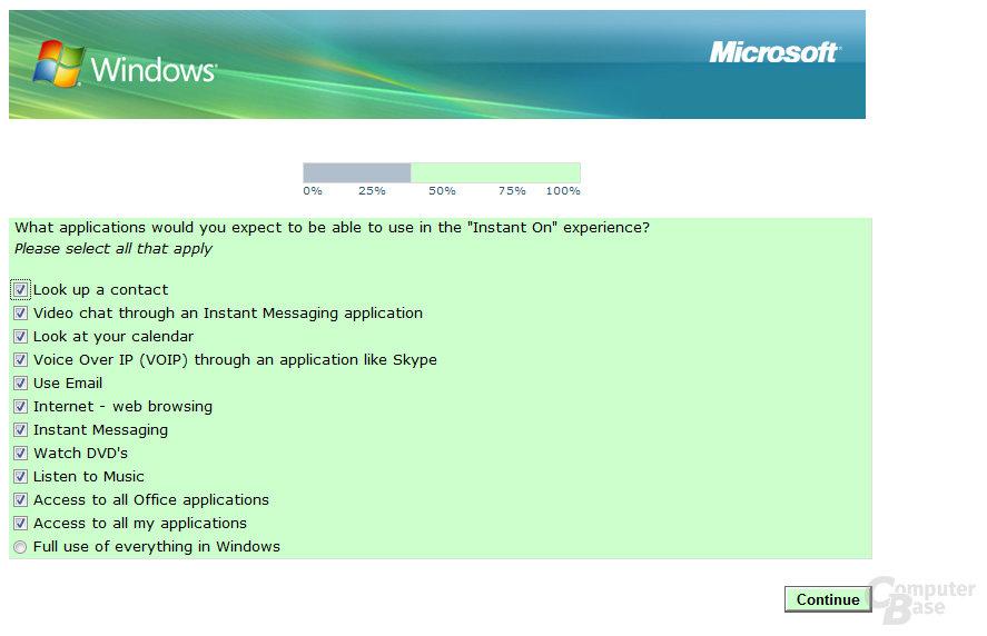 Microsoft-Umfrage zur Instant-On-Funktion