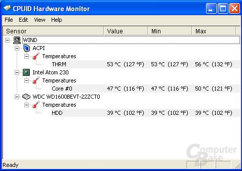 Wind-Ergebnis - HW Monitor