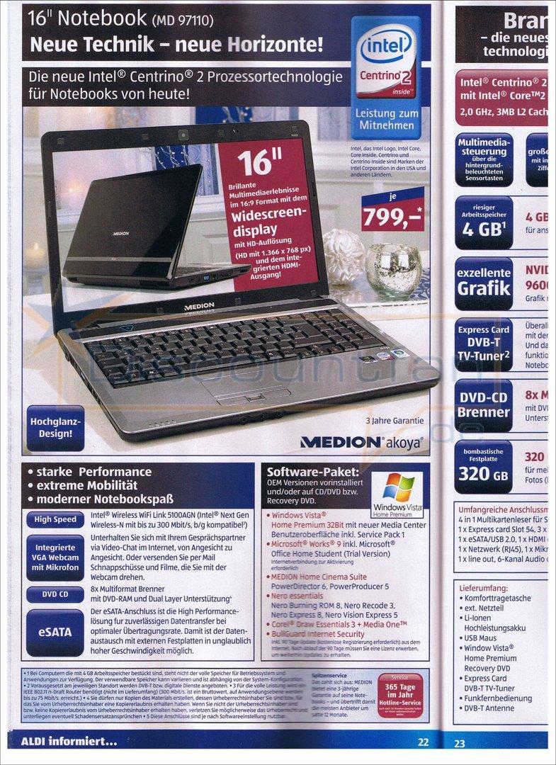 Prospekt für das Medion Akoya MD 97110