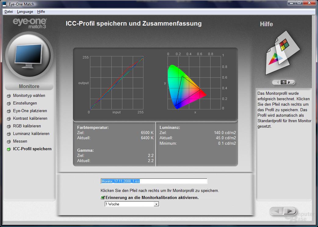 Messung mit Colorimeter nach Kalibrierung