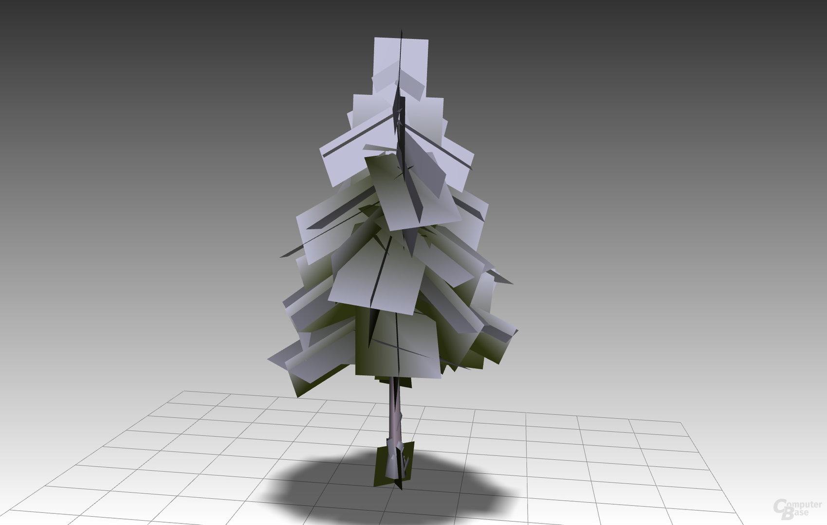 Modell eines Baums bestehend aus vielen teilweise transparenten Vierecken. (Bild erzeugt in Right Hemisphere Deep Exploration)