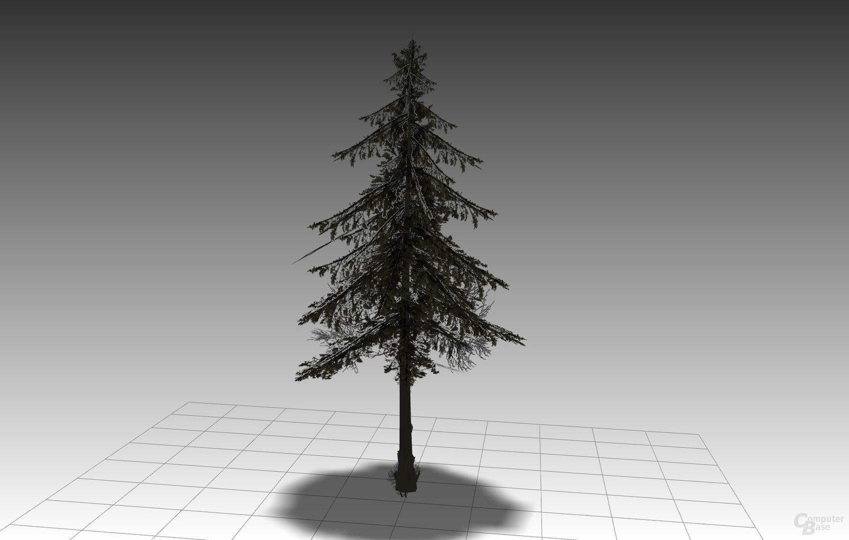 Dasselbe Modell des Baums mit Texturen und den Transparenzwerten. (Bild erzeugt in Right Hemisphere Deep Exploration)
