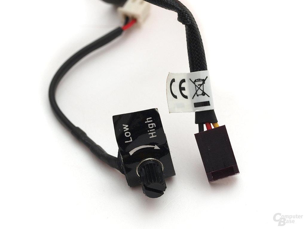 Drehpoti und 3-Pin-Stromanschluss