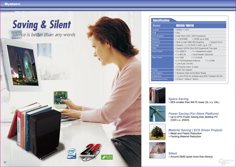 Aktualisiertes Datenblatt des ECS Elite-PC MD100 / MD110