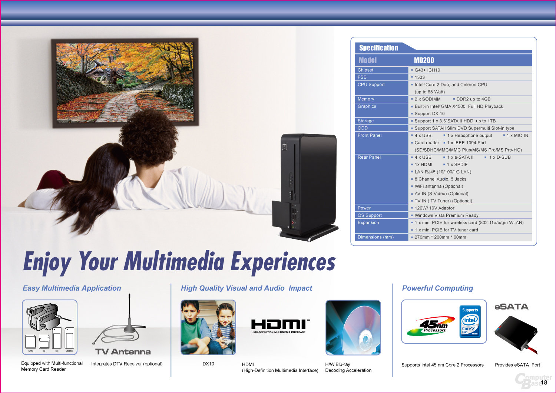 Aktualisiertes Datenblatt des ECS Elite-PC MD200
