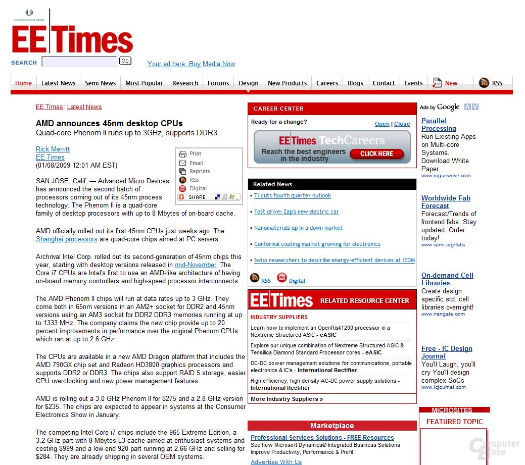 Artikel der EE Times nach der Umdatierung - jetzt komplett offline