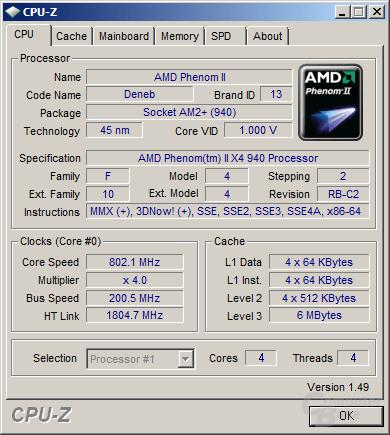 CPU-Z vom Phenom II X4 940 mit C&Q und C1E