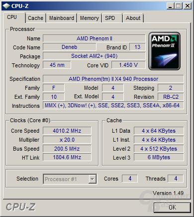 AMD Phenom II X4 940 bei 4 GHz und nur 1,45 Volt - leider nicht stabil