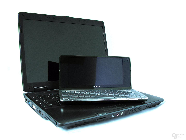 Größenvergleich Sony Vaio P und 15,4-Notebook