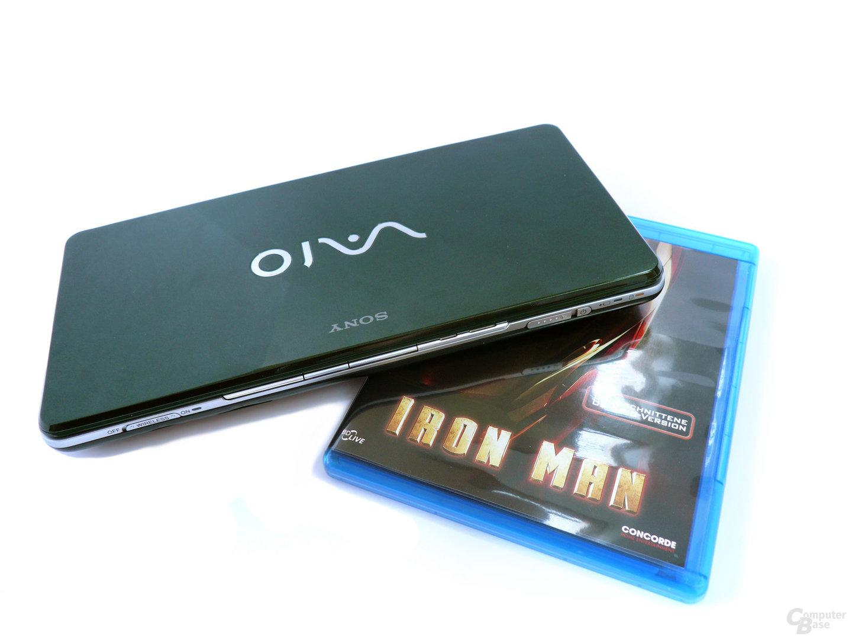 Größenvergleich Sony Vaio P und BD-Hülle