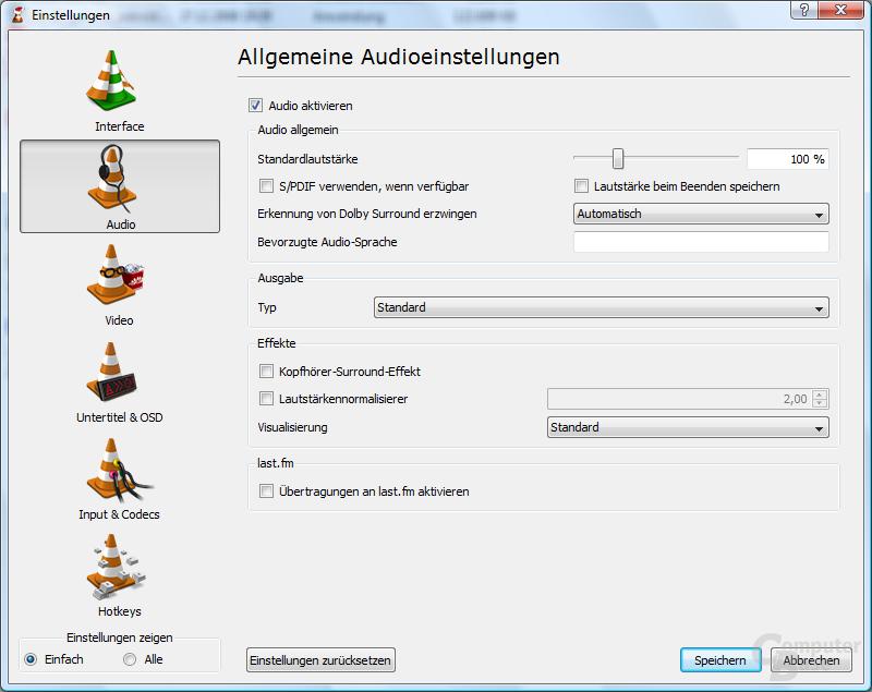 VLC Media Player – Einstellungen Standard