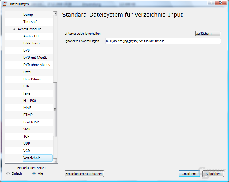 VLC Media Player – Erweiterte Einstellungen