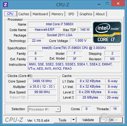 CPU – Intel Core i7 5960X