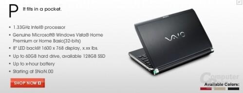 """Kurzzeitig verfügbare Produktankündigung eines 8""""-Notebooks"""