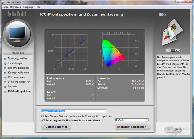 Messung unkalibriert (sRGB-Profil)
