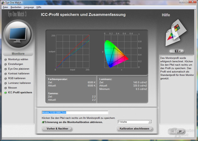 Messung unkalibriert (Standardprofil)