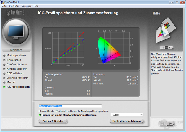Farbmessung im sRGB-Profil