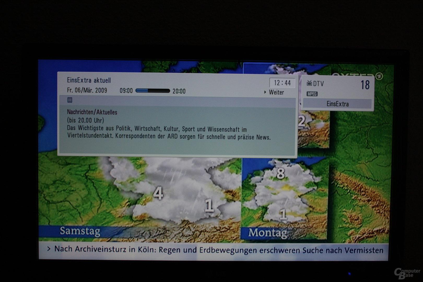 TV-Wiedergabe mit Informationsanzeige