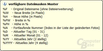 Dateimasken Muster