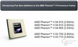 AMD Phenom II - fünf neue Modelle