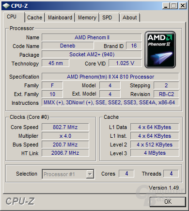 Phenom II 810 im Idle