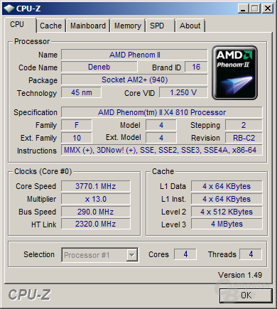 AMD Phenom II X4 810 bei 3,77 GHz und 1,55 Volt