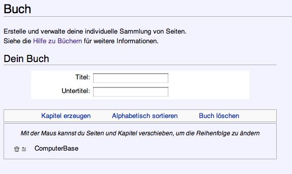 Bücher erstellen bei Wikipedia